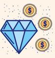 big diamond and dollar coins treasure image vector image