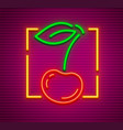 cherry neon sign with berry vector image vector image