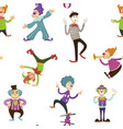 clown and mime entertaining people seamless vector image