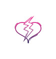 color line heart with thunder symbol lobe design vector image vector image