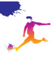 colorful soccer player hitting ball vector image