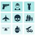 combat icons set collection cranium ordnance vector image vector image