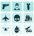 combat icons set collection of cranium ordnance vector image vector image