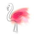 contour flamingo with pink paint stains on a vector image vector image