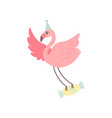 cute flamingo wearing party hat flying with candy vector image vector image