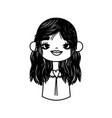 cute smiling girl with black long hair thick line vector image