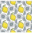 cute yellow lemons pattern handdrawn seamless vector image vector image