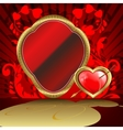 Design with a gold frame and heart arrow vector image vector image