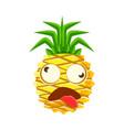 dizzy pineapple emoticon cute cartoon emoji vector image