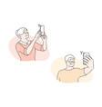 elder people take selfie social media set concept vector image