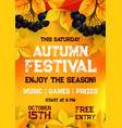 fall festival of autumn harvest poster template vector image vector image