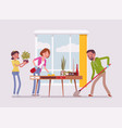 family cleaning the house vector image