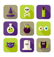 Flat Scary Halloween Witch Squared App Icons Set vector image vector image