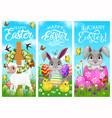 happy easter holiday rabbits chicks and sheep vector image