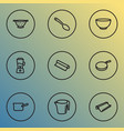 kitchenware icons line style set with spoon vector image vector image