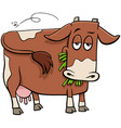 milker cow farm animal character cartoon vector image vector image