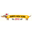 new year 2018 greeting card with dachshund dog vector image vector image
