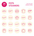 pot pan and steamer line icons restaurant vector image