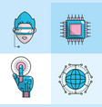 set future technology connect in the cyberspace vector image vector image