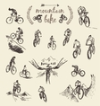 Set hand drawn mountain bike cyclist sketch vector image