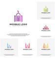 set islamic logo design mosque logo template vector image vector image