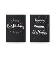 set of happy birthday floral posters with vector image