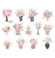 set summer cartoon flowers in n pots and vase vector image