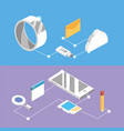 set technologies with data services connection vector image