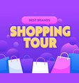 shopping tour banner with paper bags best brands vector image vector image