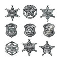 silver sheriff badges collection vector image