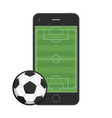 smartphone soccer field and ball vector image vector image