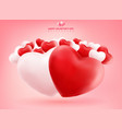 soft and smooth red and white valentines hearts vector image vector image