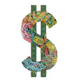 symbol of dollar zentangle decorative vector image