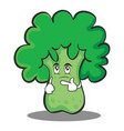 thinking broccoli chracter cartoon style vector image vector image