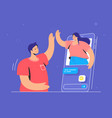 video call conversation or chat human hand holds vector image