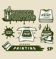 vintage screen printing elements set vector image vector image