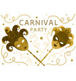 white carnival party card with two golden masks vector image vector image