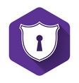 white shield with keyhole icon isolated with long vector image vector image