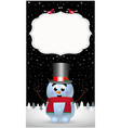 winter greeting card template with cute cartoon vector image