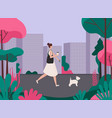 woman walking a dog healthy active lifestyle vector image
