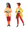 women with dishes on trays canteen self-service vector image