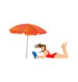 Young woman reading a book under an umbrella vector image vector image
