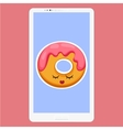 Smartphone with Donut in flat cartoon style vector image