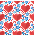 red heart flowers seamless pattern vector image
