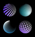 set abstract halftone 3d spheres 3 vector image