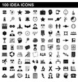 100 idea icons set simple style vector image