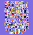 alphabet collage abc alphabetical font vector image vector image