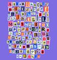 alphabet collage abc alphabetical font vector image