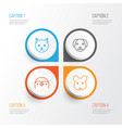 animal icons set collection of puppy rat kitten vector image vector image