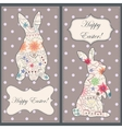 Backgrounds set with easter rabbit vector image